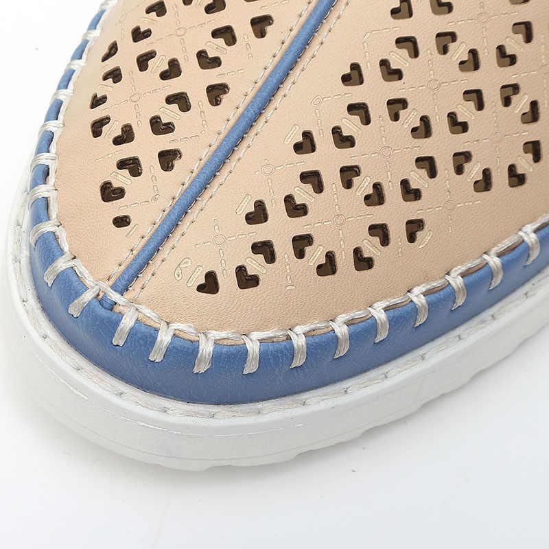 Zapatos planos de alta calidad informales deslizantes en mocasines zapatos de mujer de cuero cómodos zapatos planos de fondo suave calzado de mujer de estilo Vintage