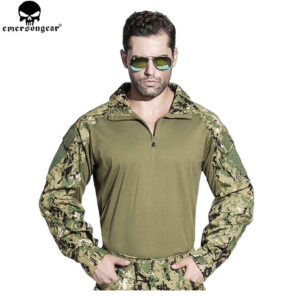 EMERSONGEAR Combat Shirt US Army Combat Shirt Cargo Multicam Airsoft Paintball Militar Tactical Camouflage Shirt Multicam Arid стоимость