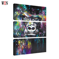 WEEN HD Printed Orangutan Wall Pictures With Framed Directly Hang Canvas Paintings Art 3Pcs Animal Poster
