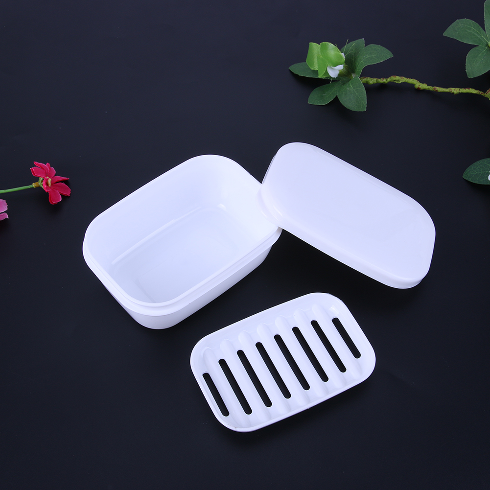 Bathroom:  Home Travel Soap Box Soap Holder with Lid Seal Leak-proof Soap Dish Drain Layer Portable Storage Box Bathroom Products - Martin's & Co