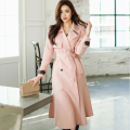 Extra Long Women Overcoat 2017 Girls Sweet Pink Trench Coat Ladies Personality Grace Skirt Coat PU Sleeve Flounce Topcoat Slim