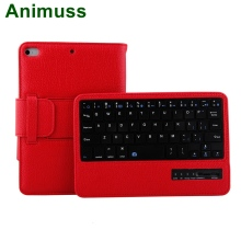 Animuss Lychee Pattern Detachable Wireless Bluetooth Keyboard Case For iPad Mini 1/2/3/4