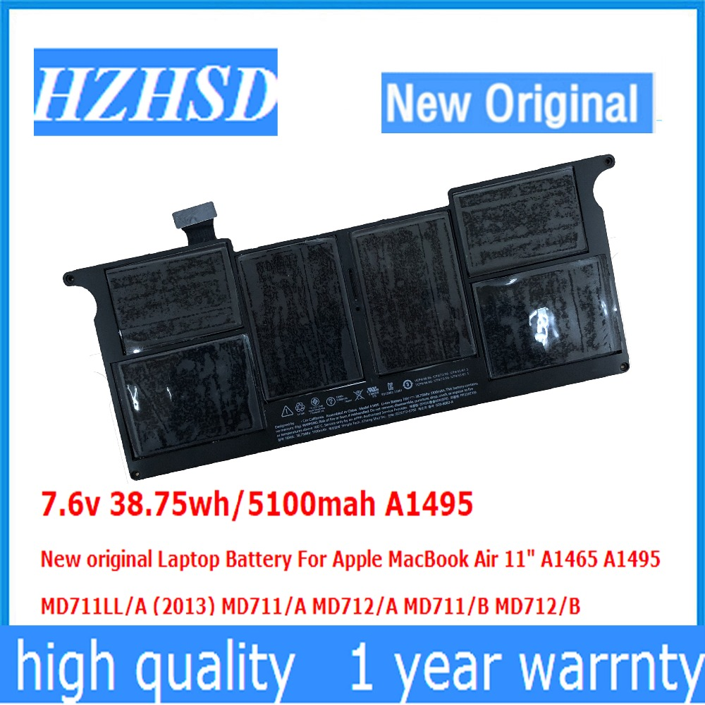 7.6v 38.75wh/5100mah A1495 New original Laptop Battery For Apple MacBook Air 11 A1465 A1495 MD711LL/A (2013) MD711/A MD712/A lmdtk new laptop battery for for apple macbook air 11 a1465 a1495 md711ll a 2013 md711 a md712 a md711 b md712 b