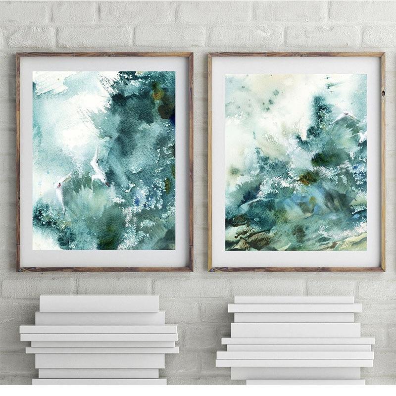 Abstract Nautical Prints Prints Watercolor Emerald Green ...