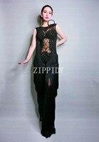 Модные черные стразы бахромой комбинезоны пикантные сетчатые концептуальный комбинезон наряд Для женщин певица костюм леггинсы