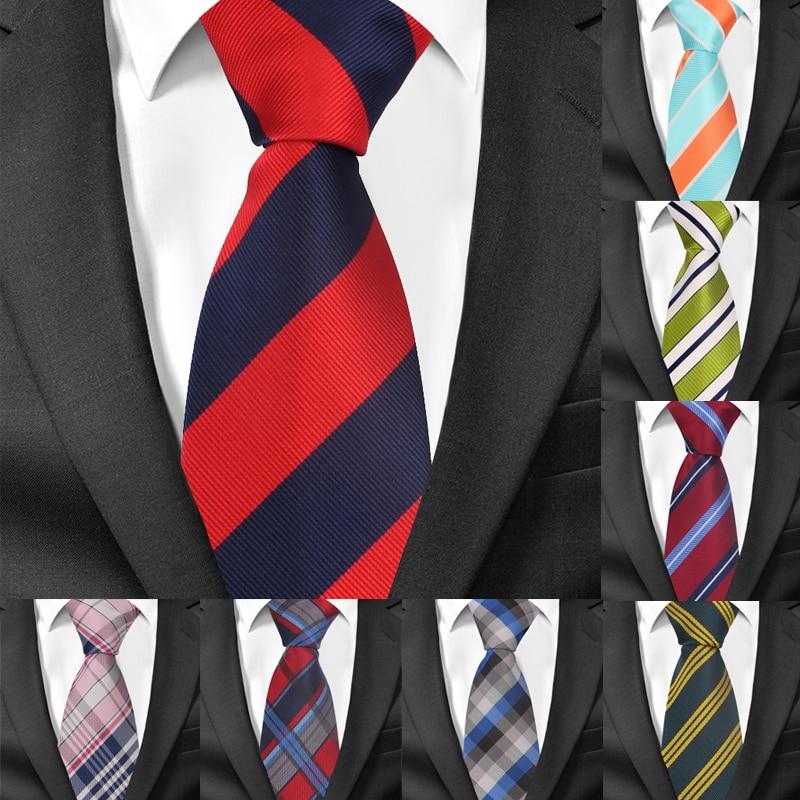 Fashion Striped Neck Tie For Men Polyester Jacquard Men Tie For Wedding Business 8cm Wide Plaid Neck Ties Classic Suits Necktie