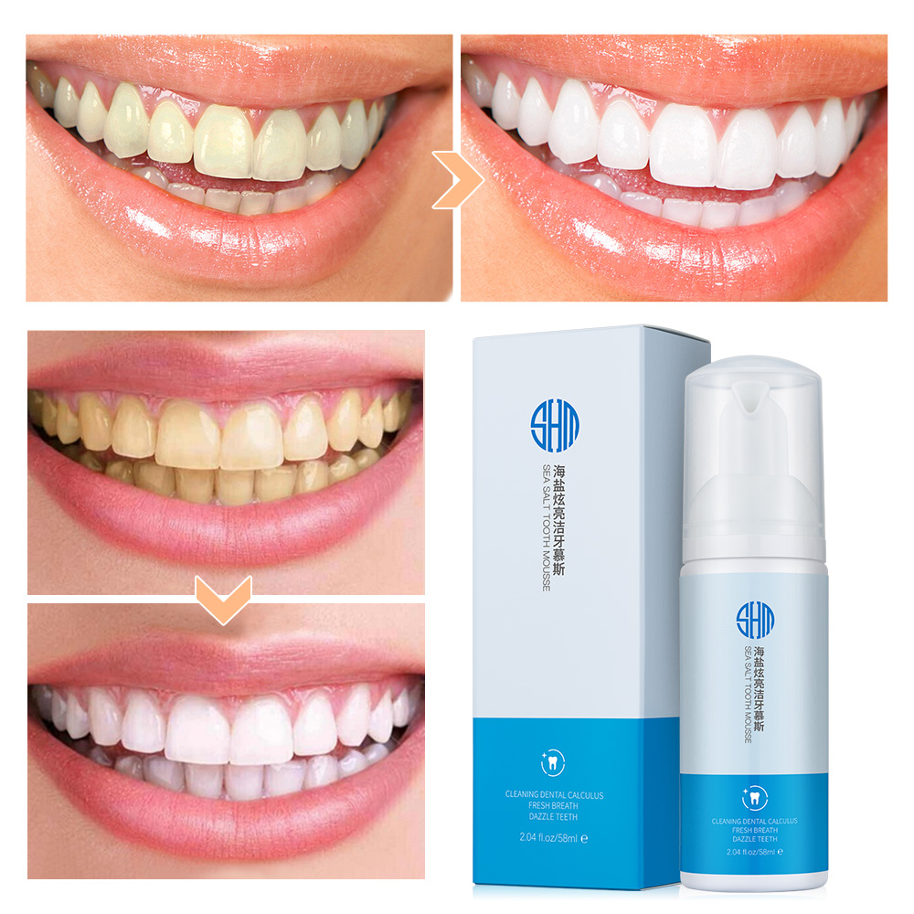 58ml Sea Salt Whitening Teeth Dry Mouth Spray Quickly Remove Smoke Teeth Mousse Black Teeth Oral Cleanser for Mouth Tooth Care image
