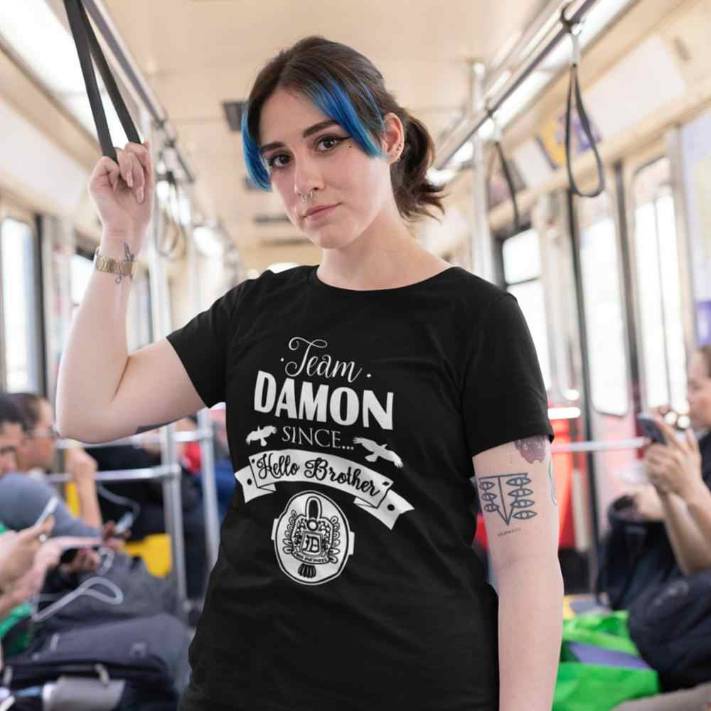 The Vampire Diaries T-Shirt Team Damon Since Hello Brother T Shirt Printed Oversized Women tshirt Funny Ladies Tee Shirt