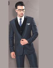 Classic Style Dark Grey Groom Tuxedos Groomsmen Men's Wedding Prom Suits Bridegroom (Jacket+Pants+Vest+Tie) K:912