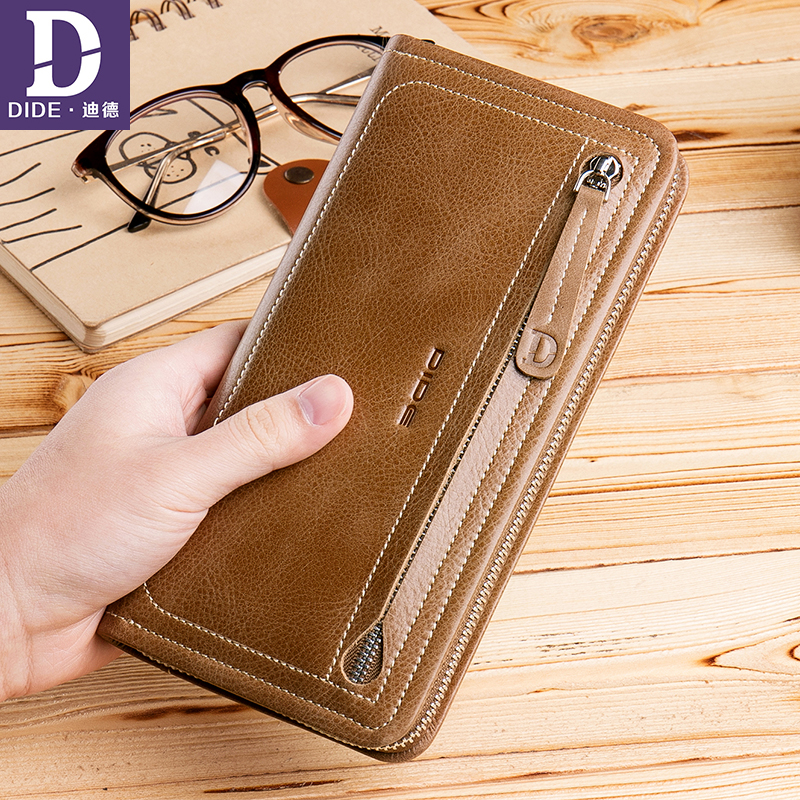 DIDE 2018 New Arrival Genuine Leather Wallet Men Coin Purse Male wallets credit card holder womens wallets and purses DQ785 100% genuine leather men s coffee wallet business credit card holder coin id purse 8011 1q
