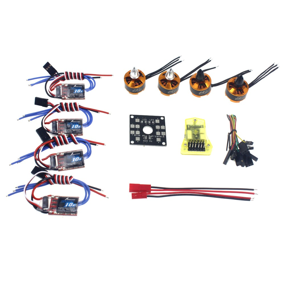 RC QuadCopter UFO 4axle Kit Hobbywing 10A ESC + 2400KV Brushless Motor + Straight Pin Flight Control Opensource F04024-A electronic components set kv2300 brushless motor 12a esc straight pin flight control open source for 250 helicopter f12065 b