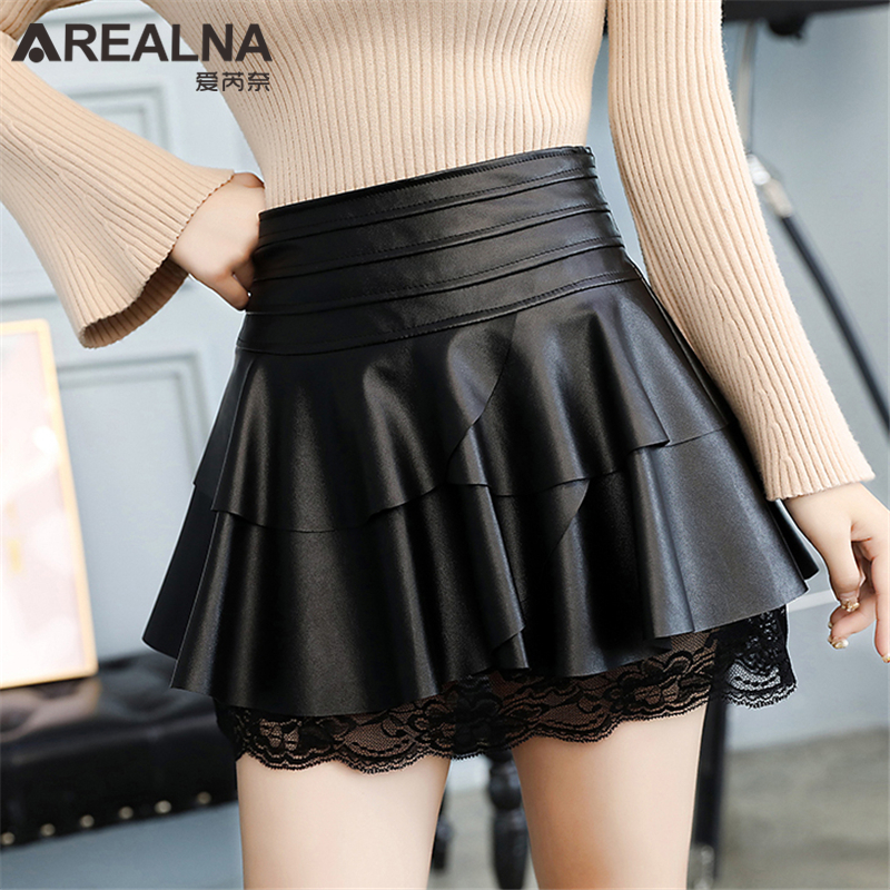 Womens Ruffles High Waist Skirt Autumn Female Sexy Party Black PU Leather Short Skirts Lace Patchwork Mini Tutu Skirts Plus Size