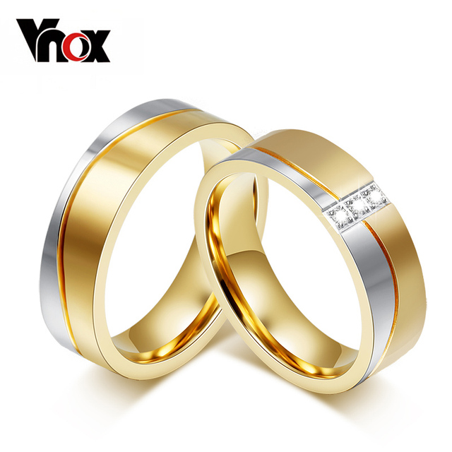 Vnox Wedding Rings for Women / Men Gold-color Elegant Lovers Promise Jewelry Personalize Engrave Name Couple Gift