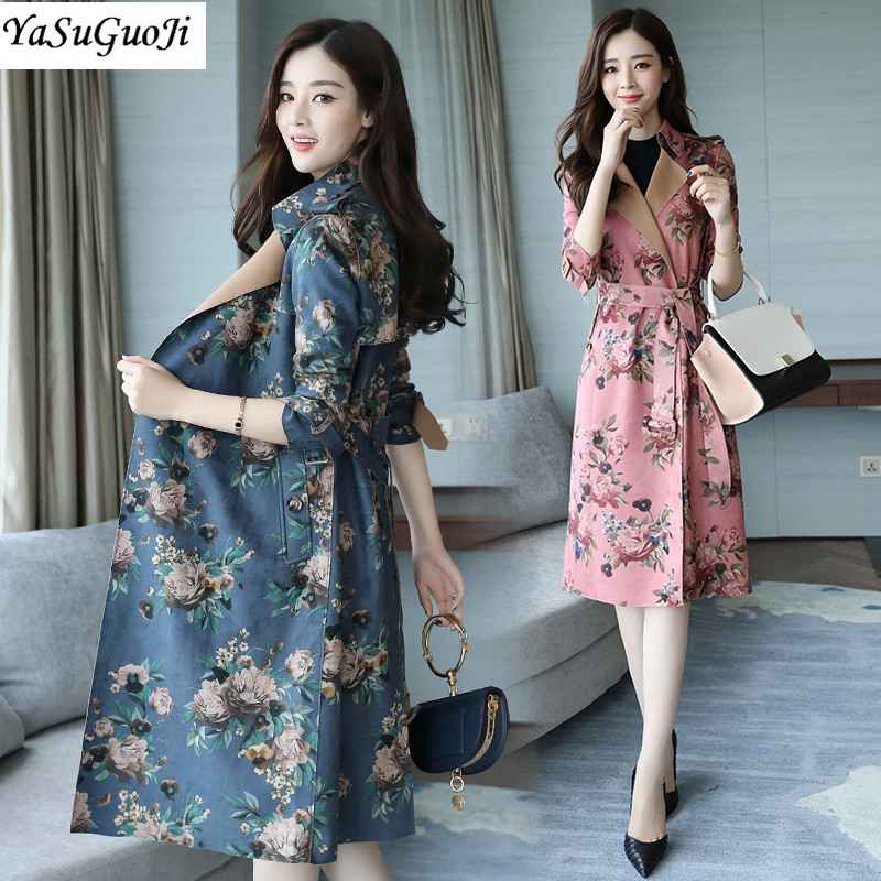 New 2017 autumn fashion floral print slim fit long   trench   coat for women turn down collar velvet windbreaker with belt FY8