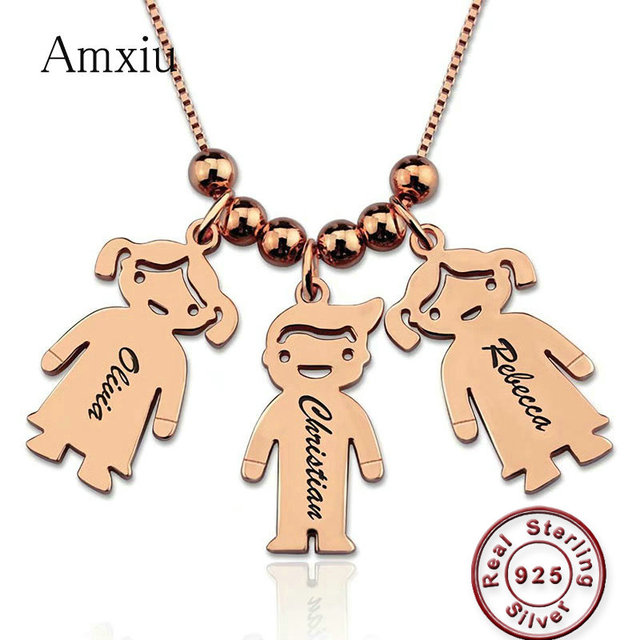 Amxiu Custom 925 Sterling Silver Pendant Necklace Engrave 1-3 Names Figure Jewelry For Women Mother's Gift Children Kids ID Tags