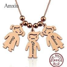 Amxiu özel 925 ayar gümüş kolye kolye oyulmuş 1 3 isimleri şekil takı kadınlar için anneler hediye çocuk çocuklar kimlik etiketleri