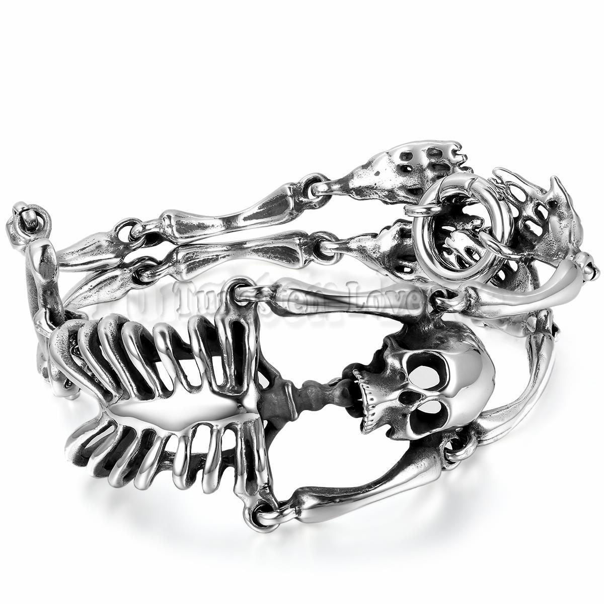 8 6 inch Men s Stainless Steel Bracelet Link Wrist Silver Black Skull Skeleton Vintage Jewelry