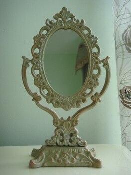 Железная зеркальная подставка с рамкой, Настольное декоративное зеркало, винтажное украшение для дома, металлические поделки