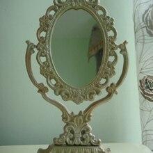 Espejo de tocador de hierro victoriano antiguo con marco de pie de mesa decorativo espejo de pie decoración del hogar Vintage artesanías de Metal