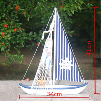 2015 Mediterranean Wood Crafts Home Decorations Wooden Sailing Boat Home Model Ornaments Souvenir Wooden Gift Free