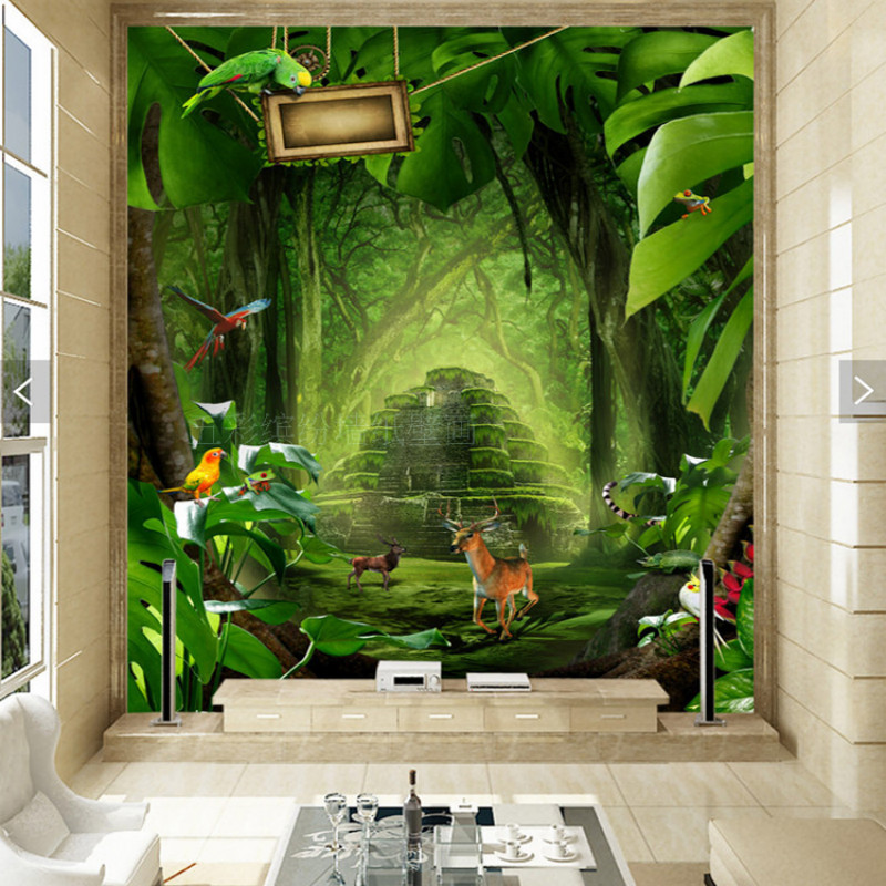 Custom 3D stereoscopic beautiful dreamy idyllic tropical plants elk forest mural wallpaper 3d hallway entrance custom baby wallpaper snow white and the seven dwarfs bedroom for the children s room mural backdrop stereoscopic 3d