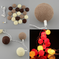 20pcs COTTON BALL Style FAIRY STRING 6cm LIGHTS LAMP BULB 3M White Coffee FOR PARTY PATIO