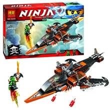 242pcs BELA Phantom Ninja Turtles Sky Shark Building Blocks Minifigures Lloyd Flintlocke Brick Enlighten Educational Kids Toys