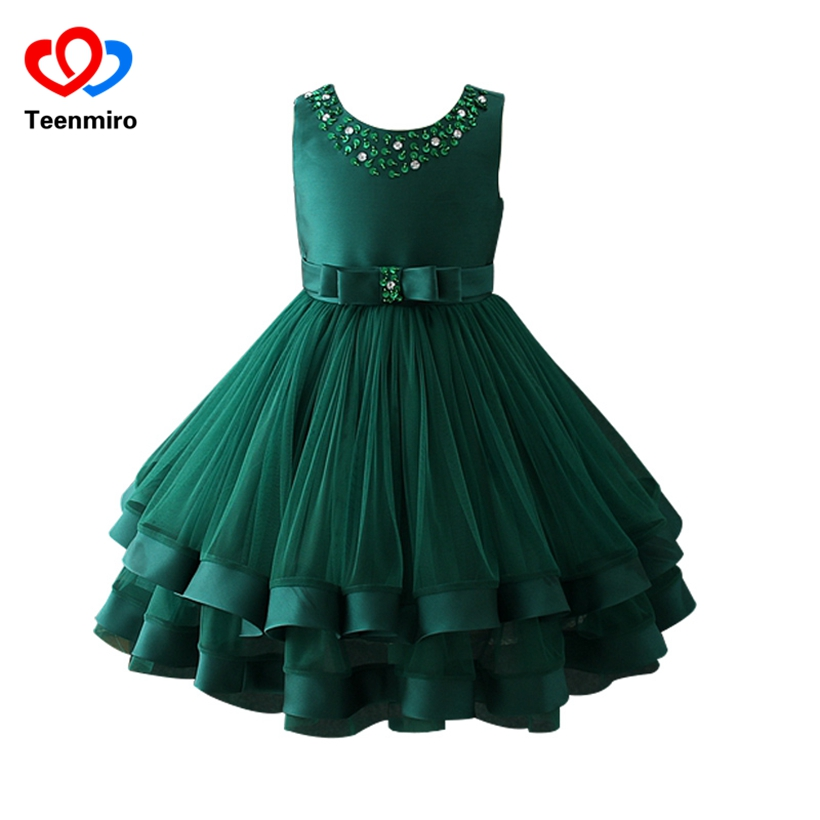 Sequin Pearls Princess Dresses for Girls Wedding Party Dress-up Elegant Girl Tunic Dress Children kids Bow Layer Tulle Ball Gown erapinky girl dress kids girls backless dress bow lace ball gown party dresses easter dress for girls 8year old child clothes