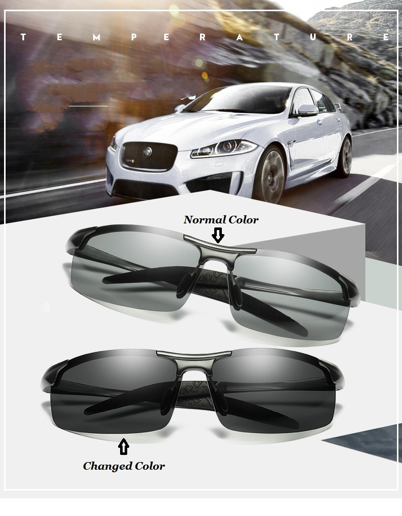 b2e25eaff5 Change Color Photochromic Sunglasses Men Women Titanium polarized Sun Glasses  Chameleon Anti-glare Driving