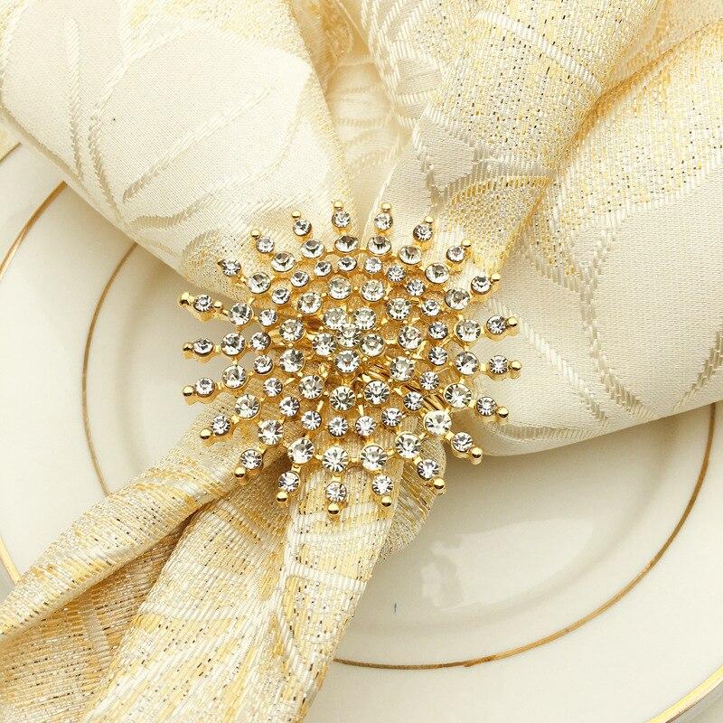 6pcs/lot Western Napkin RingS Gold Flower Christening Bangle Metal Napkin Holder Wedding Bridal Shower Gift Baptism Table Decor