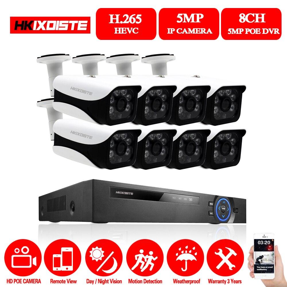 Kit de NVR POE 8CH 5MP 4K HDMI H.265 Sistema de CCTV al aire libre impermeable IP66 cámara IP P2P Sistema de videovigilancia de seguridad Sistema de alarma de casa, intercomunicador con alarma Wifi GSM, Control remoto, Autodial, detectores de 433MHz, IOS, Android, Tuya, teclado táctil con Control de aplicación