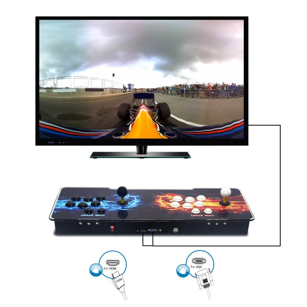 875 Classic Games Double Fists Pattern Home Multiplayer Arcade Game Console Controller Kit Set Double Joystick Console classic 680 games console double game console pandora s box 4s arcade board machine joystick game controller