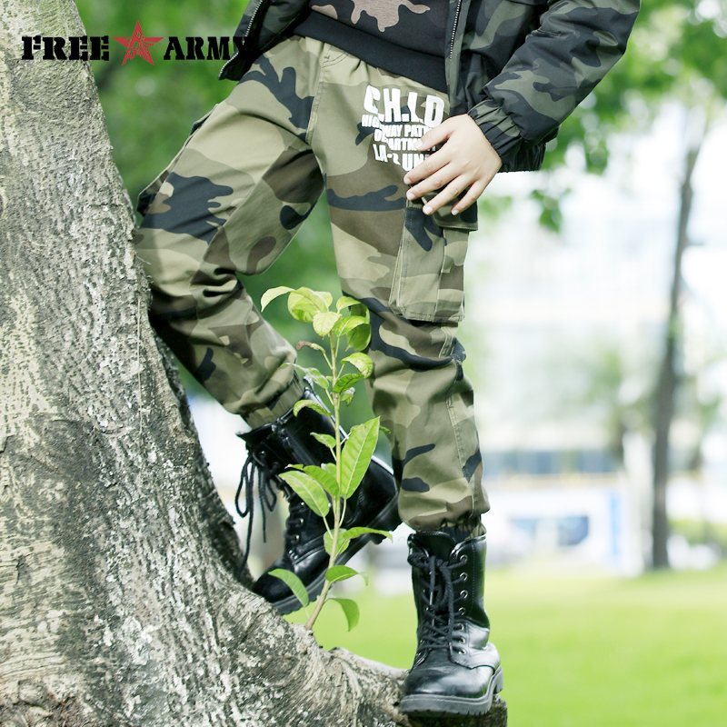 FREEARMY Teenage Boy Clothing Kids Camouflage Trousers Kids Pants Boys Trousers Camo Pants Military Pants Big Size8 10 12 14 16