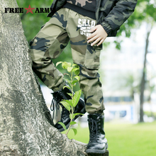 FREEARMY Teenage Boy Clothing Kids Camouflage Trousers Kids Pants Boys Trousers Camo Pants Military Pants Big Size8 10 12 14 16 kids patched tee with drawstring camo pants