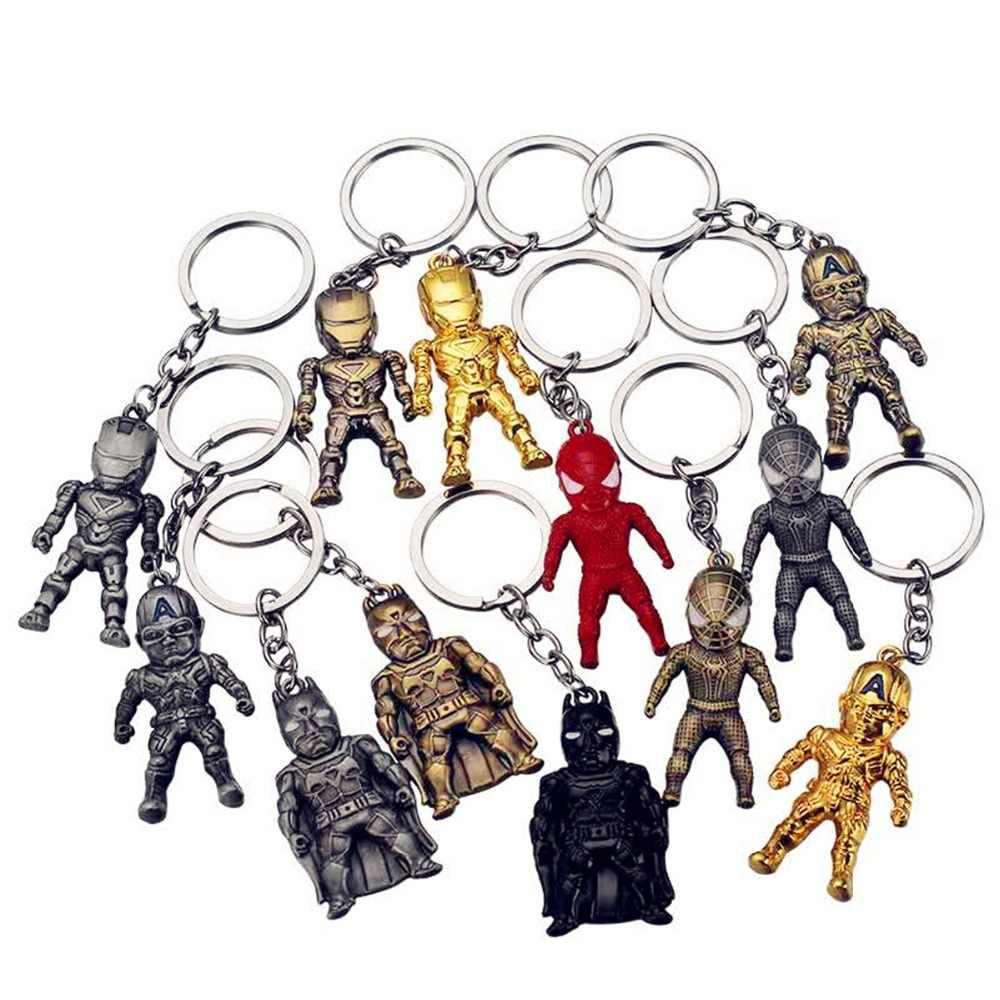SuperHeroe Avengers Thor Capitão América Escudo do Metal da corrente Chave Keychain Keychain Máscara Hulk Spider man homem De Ferro Batman Chaveiros