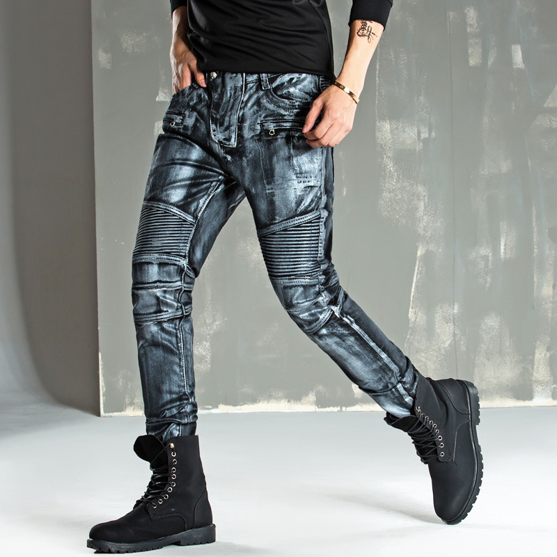 Hot Sale Men Four Seasons   Jeans   High Quality Silver coating Motorcycle Denim   jeans   Trousers Fashion Casual Slim fit Skinny   jeans