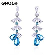 GAOLA Fascinating Multi Color Cubic Zirconia Long Dangle Earrings For Women Europe Style Party Drop Earring Jewellery GLE7460Y