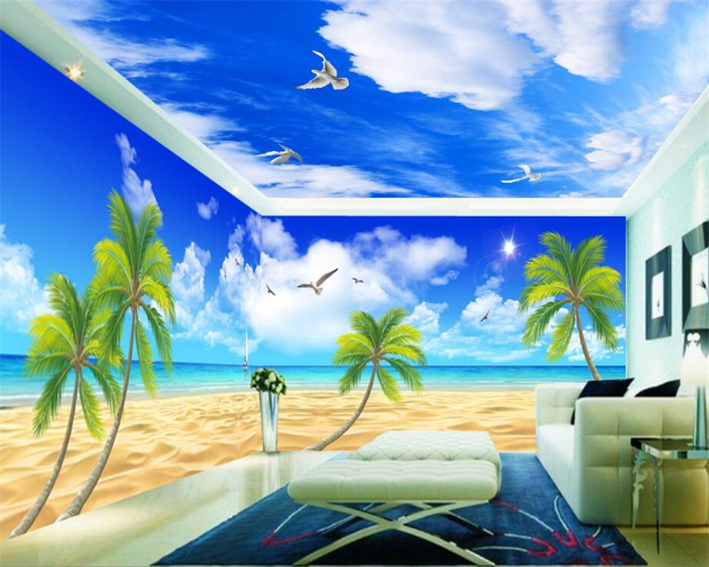beibehang papel de parede 3d wallpaper Customized fashion personality wall paper vast aesthetic beach whole house 3D backdrop