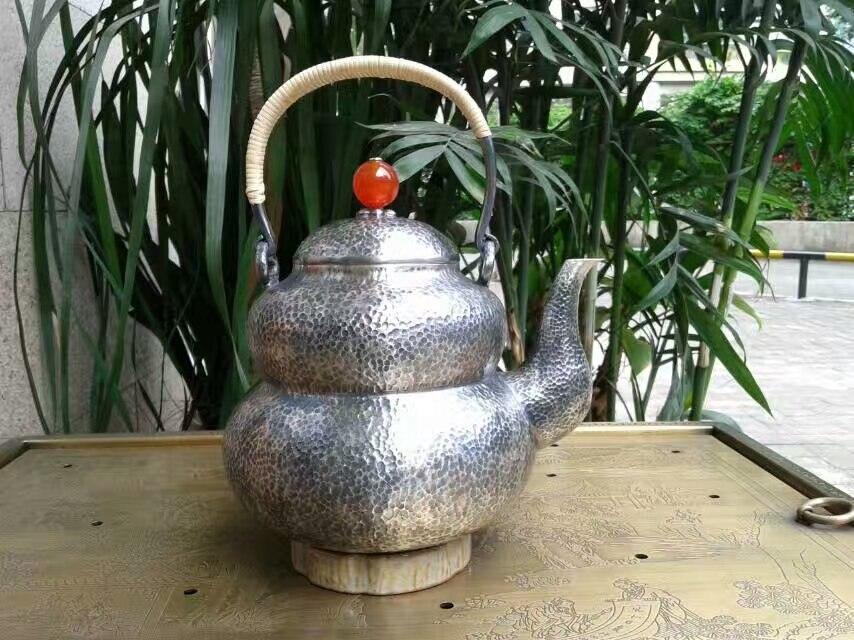 Ramollir l'eau Sterling argent 1250G Fukushi gourde bouilloire 1.6L manuel sifflement eau sud rubis bouilloires avec boîte-cadeau