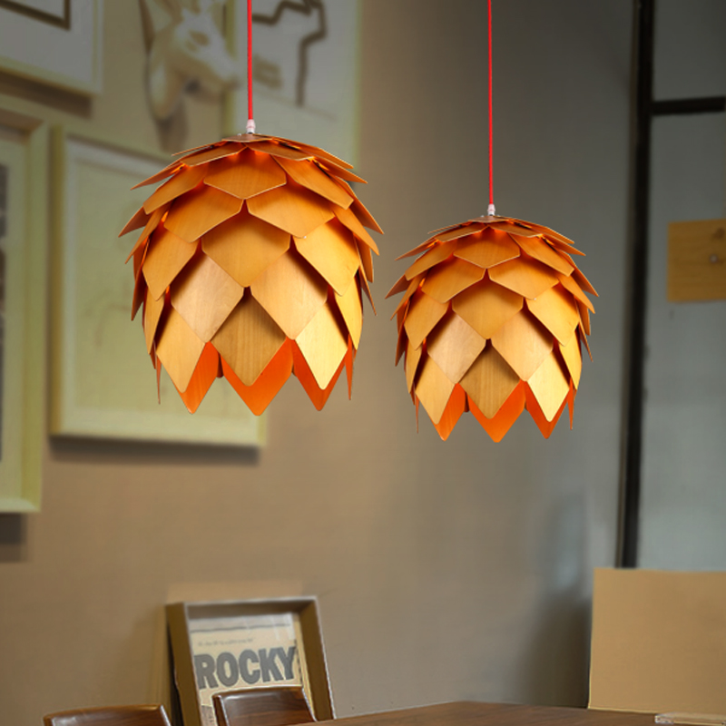 Modern Art OAK Wooden Pinecone Pendant <font><b>Lights</b></font> Hanging Wood PH Artichoke Lamps Dinning <font><b>Room</b></font> Restaurant Retro Fixtures Luminaire