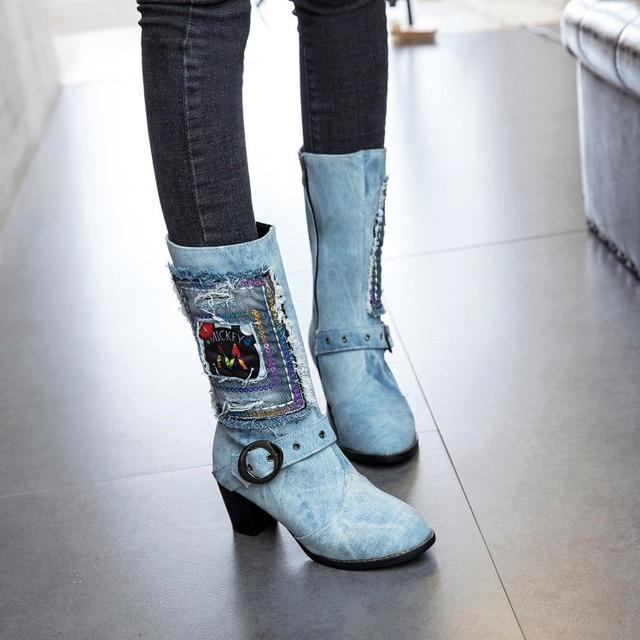 PXELENA Retro Blue Denim Mid Calf Boots Women Graffiti Buckle Square High Heels  Short Boots Lady Shoes 2018 Winter Newest 34-43 e7398dc960d7