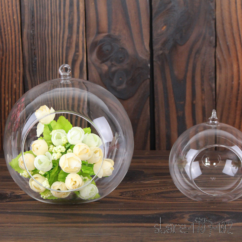 6 шт. мода прозрачный Стекло круглый Террариум цветок РП висит ваза гидропоники Офис Свадьба Декор сада