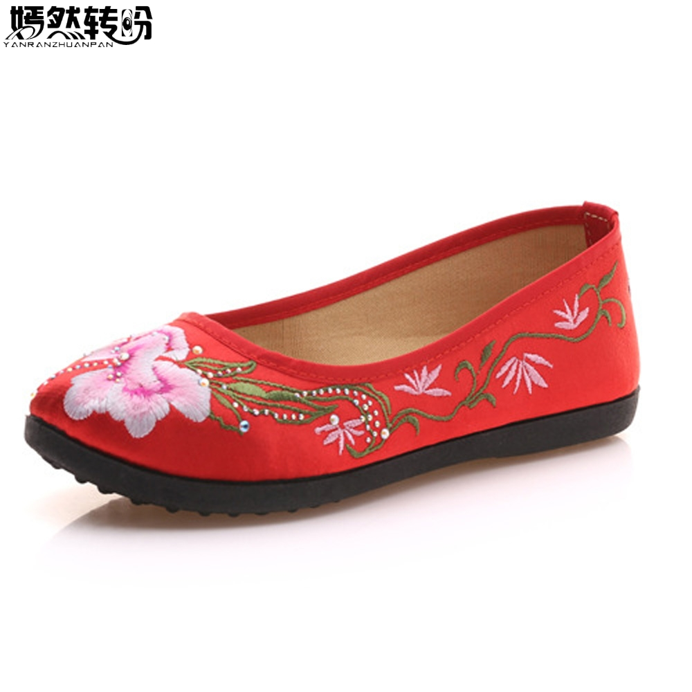 Vintage Women Flats Shoes Flower Embroidered Canvas Ballets Flats Vintage Chinese Comfort Casual Soft Cotton Shoes For Woman vintage women flats old beijing mary jane casual flower embroidered cloth soft canvas dance ballet shoes woman zapatos de mujer