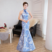 Blue White Porcelain Chinese Traditional Evening Gown Fashion Mermaid Long Modern Qipao Cheongsam Oriental Dresses Custom