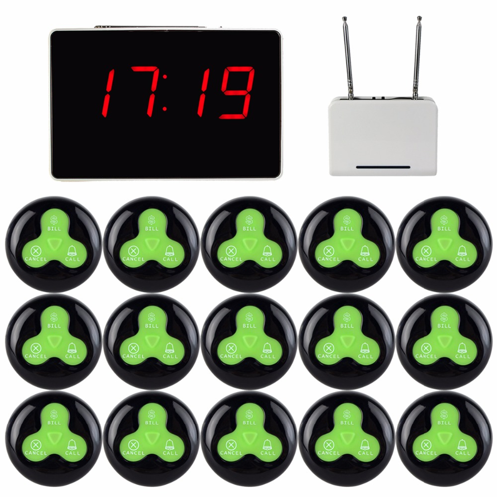 Restaurant Waiter Call Pager Voice Reporting Broadcast Calling System 1 Receiver Host + 1 Signal Repeater 15 Call Button F3294A wireless waiter buzzer calling system best discount price of wireless calling full set 1 display 1 wrist pager 10 call button