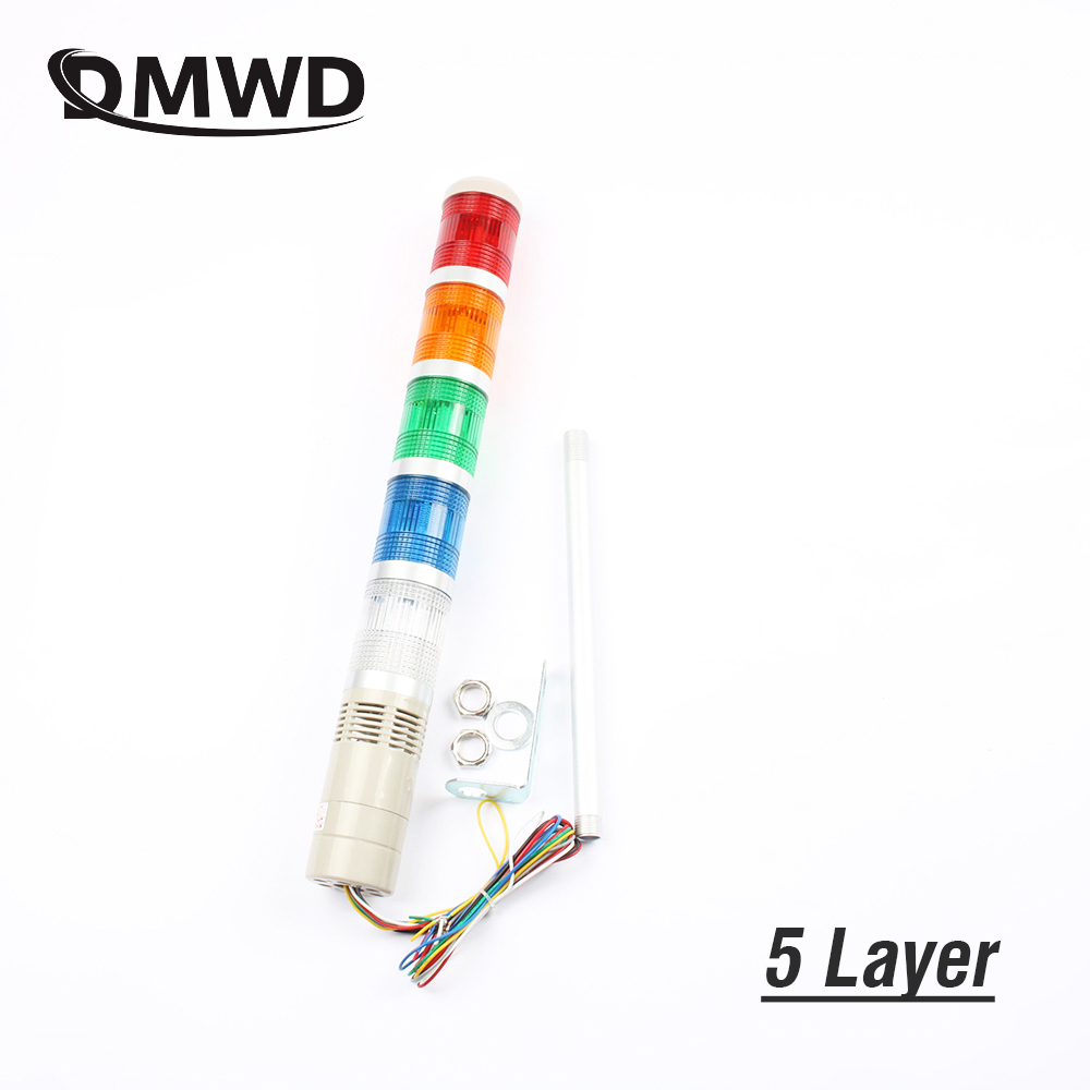 DC12V/24V Safety Stack Lamp Red Green Yellow Flash Industrial Tower Signal warning Light LTA-205 5 layer 110V 220V