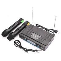 Twin Karaoke Radio VHF Wireless Cordless Handheld Microphone Microfono Microfone System Set Mic Receiver