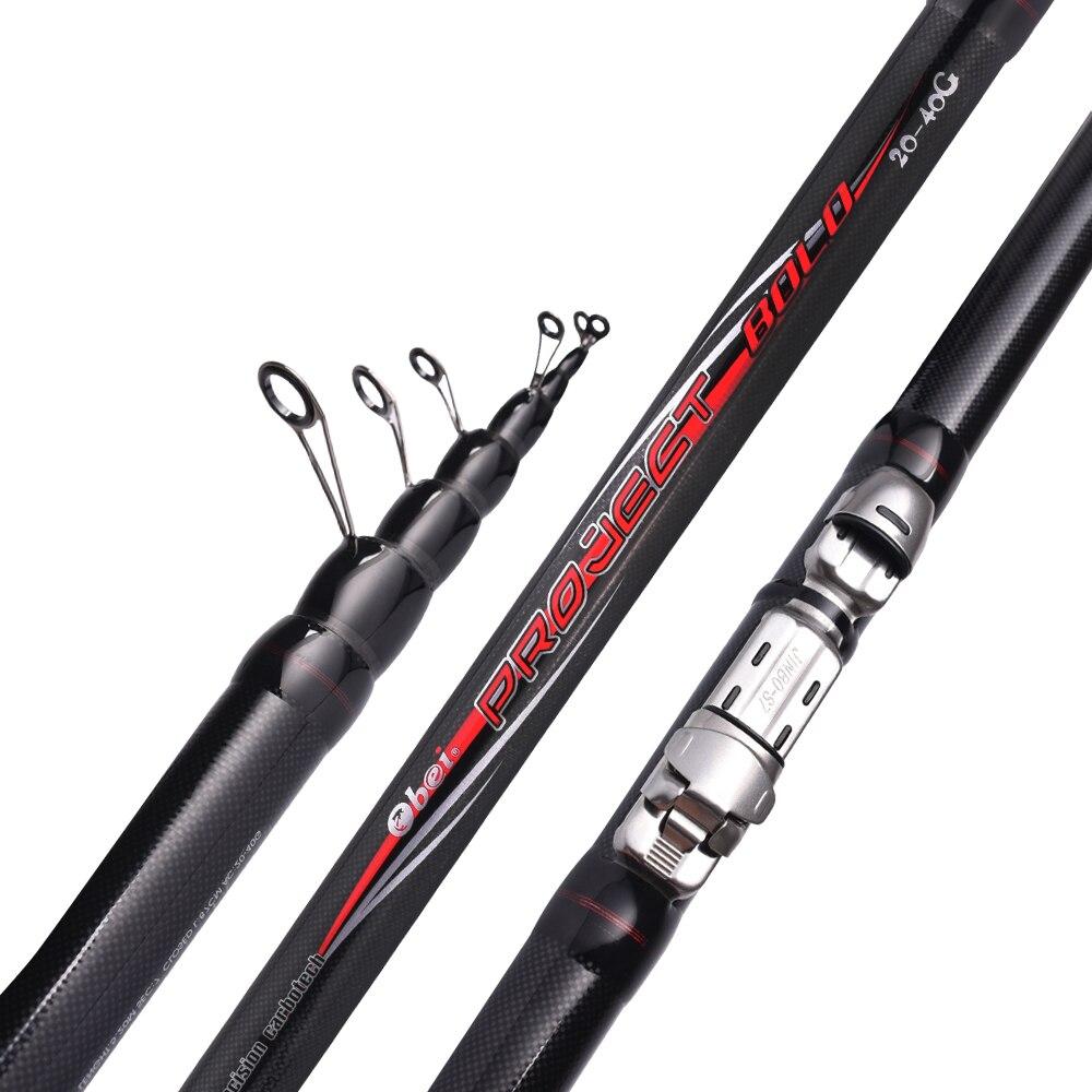 FUXIN 99% de fibra de carbono caña de pescar telescópica 3,8-6 m 90 cm mar varillas pesca Rod telescópico girando negro pesca bolo rod