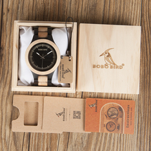 BOBO BIRD O01 O02 Male Antique Wooden Watches with Band Luxury Fashion New Uomo Orologio Japan in Gift Box