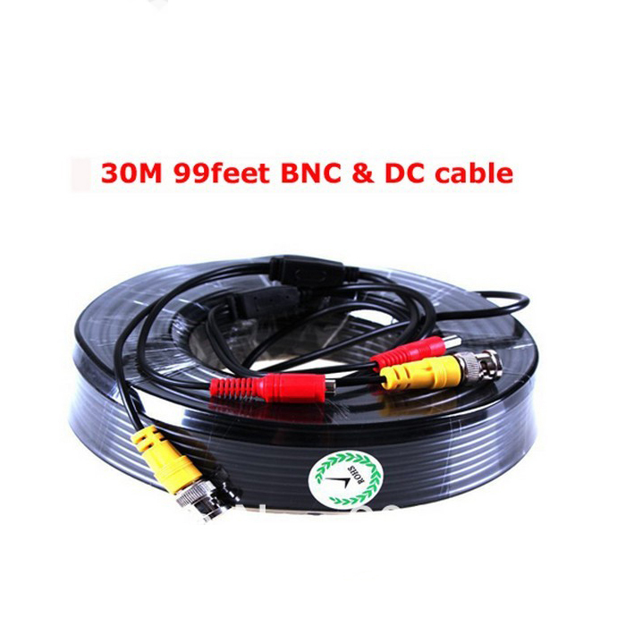 Security CCTV BNC 30M 99 feet Power Video Plug and Play Cable for Security CCTV Camera 2pc/lot free shipping cbdz cam high quality 40m cctv cable bnc dc plug video and power cable for cctv camera and dvrs black color coaxial cable free shipping